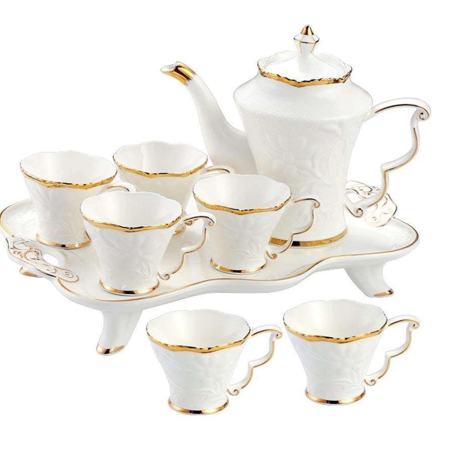 CTS-071 High Quality 8pcs Classic Ceramic Tea Set Porcelain Coffee Set With Stand