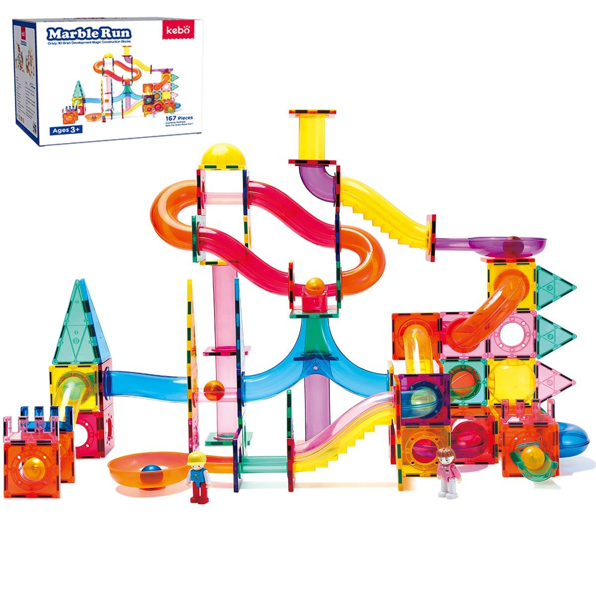 Construction kids educational magnetic tiles marble run toy building blocks children gift set