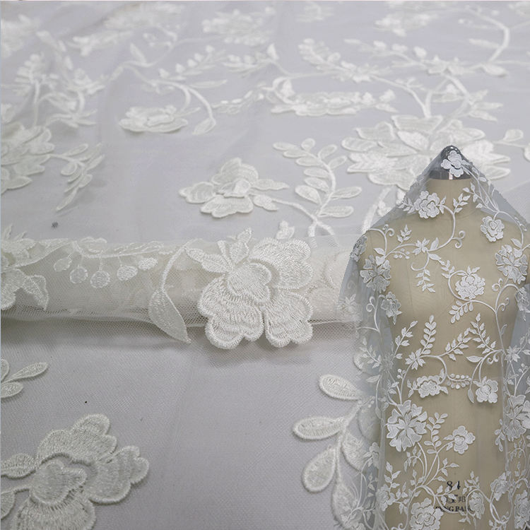 Exclusive French 3D Appliques Flora White Bridal Handcut Net Mesh Tulle Voile embroidery African Lace Fabric for Wedding