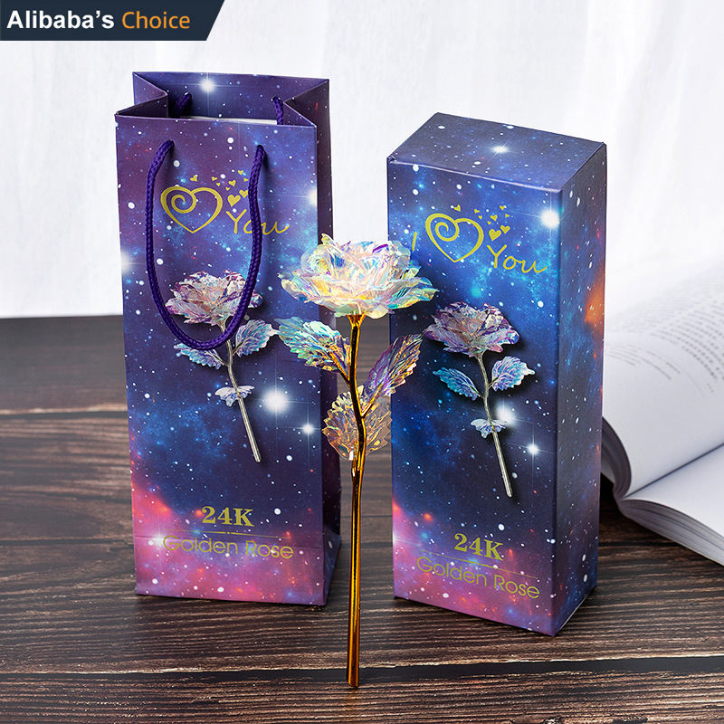 Artificial 24K Gold Foil Flower With Gift Box Valentine's Day Gifts Galaxy Rose with Pink Boxes Made In China