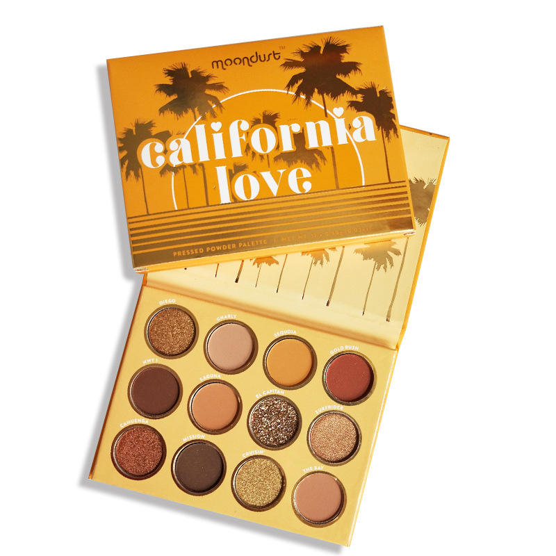 12 Color Nude Pumpkin Sunset Canifornia Love Matte Shimmer Eyeshadow Palette Private Label Acceptable