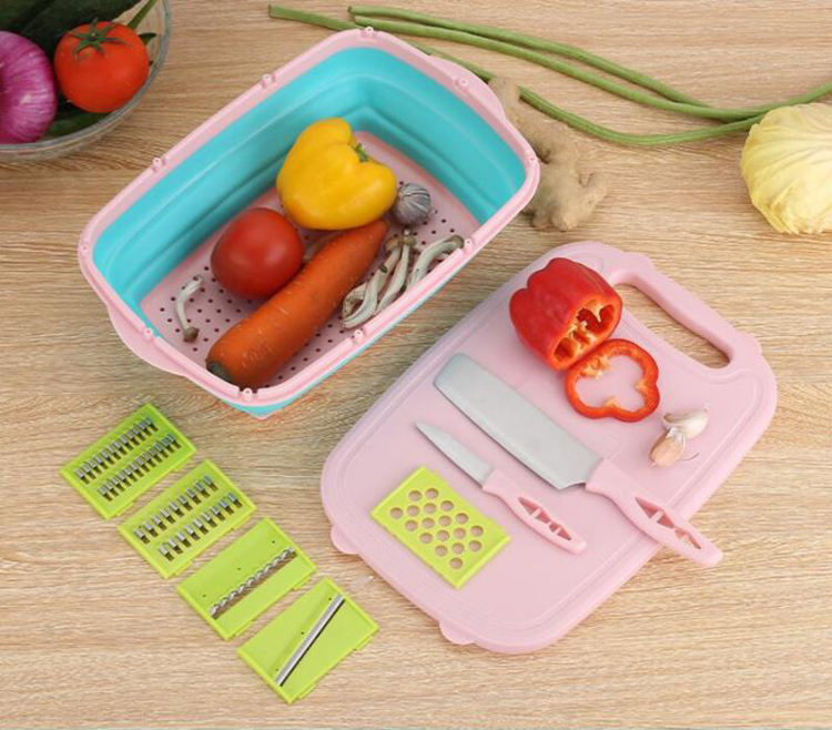 Free Shipping Non Slip Rubber PP Silicone Collapsible Multi-Function vegetable cutter slicer Chopping Board with Drain Basket