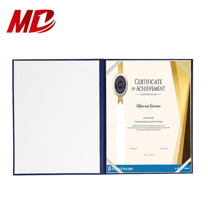 "Paper Certificate Holder Royal Blue Paper Diploma Covers Certificate Holders 8.5""x11"" With LOGO"