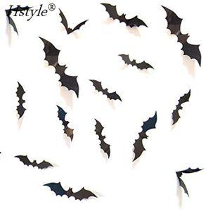Halloween Decoration 3D Bats Stickers,120PCS 12Sizes Extra Large Black Bats Window Stickers Decal Wall Stickers Halloween Party Decoration Party Supplies