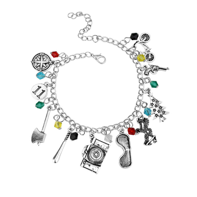 Hot Sale Stranger Things Charm Bracelet With Gun Bicycle Camera Crystal Beads Bracelet Women Punk Style Wristband