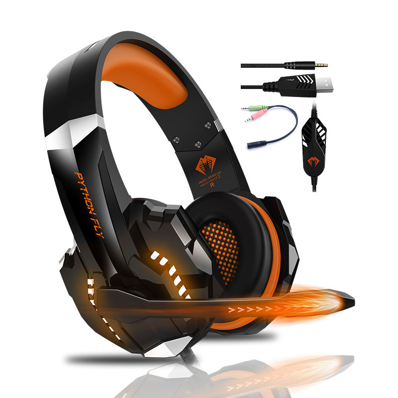 Wholesale PC Headphones Wired USB Headphone Noise Canceling-Helm-Headset LED Gaming Headset With Mic For XBOX PS4