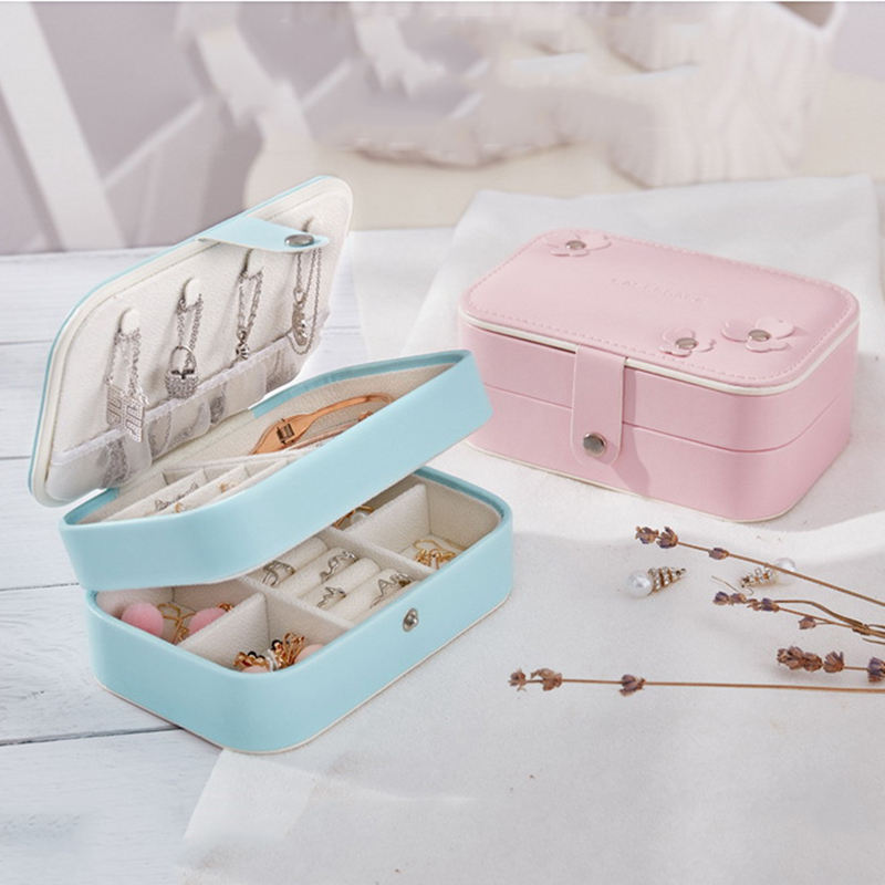 Portable Multi-function Fresh and Cute Jewelry Storage Box Organizer Travel 2 Layer Leather Earrings Ring Necklace Jewelry Case