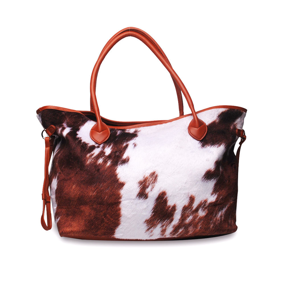 Wholesale Suede Cow Hide Bag Large Capacity Weekender Cow Printed Purse Cow Hide Leather Shoulder Bag PU Handbag