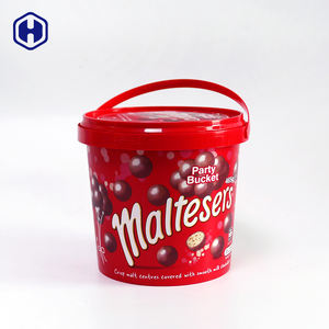 Manufactoruer PP IML collapsible mini small storage custom transparent round popcorn yogurt food cheap plastic bucket