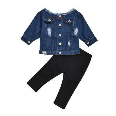 1-6Yrs Baby Toddler Clothes 2 Pcs Set Off Shoulder Denim Top with Pant Fall Outfit