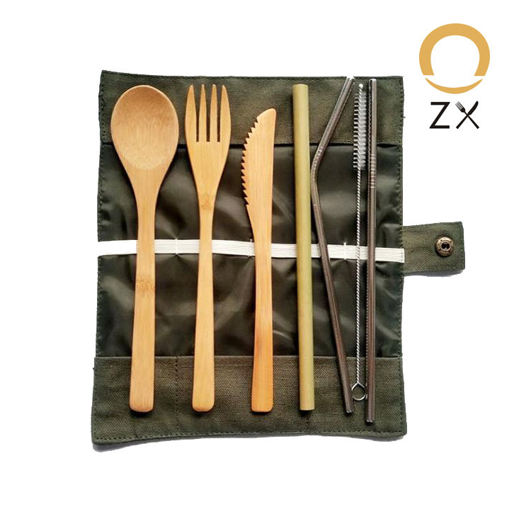 High Quality Eco Friendly Nature Knife Toothbrush Straw Brush Fork Chopstick Spoon Dinner Bamboo Cutlery Set With Bag