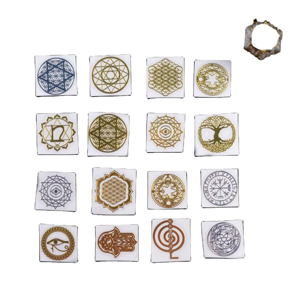 Flower of Life Epoxy Resin Jewelry Materials Resin Pendant Keychain Chakra Sticker Geometric Copper Metal Orgonite Stickers