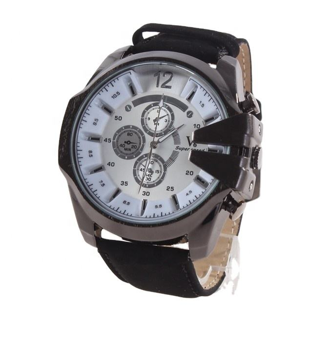Chronograph Quartz Watch Grey Dial Brown Leather Men's Watch Three eyes