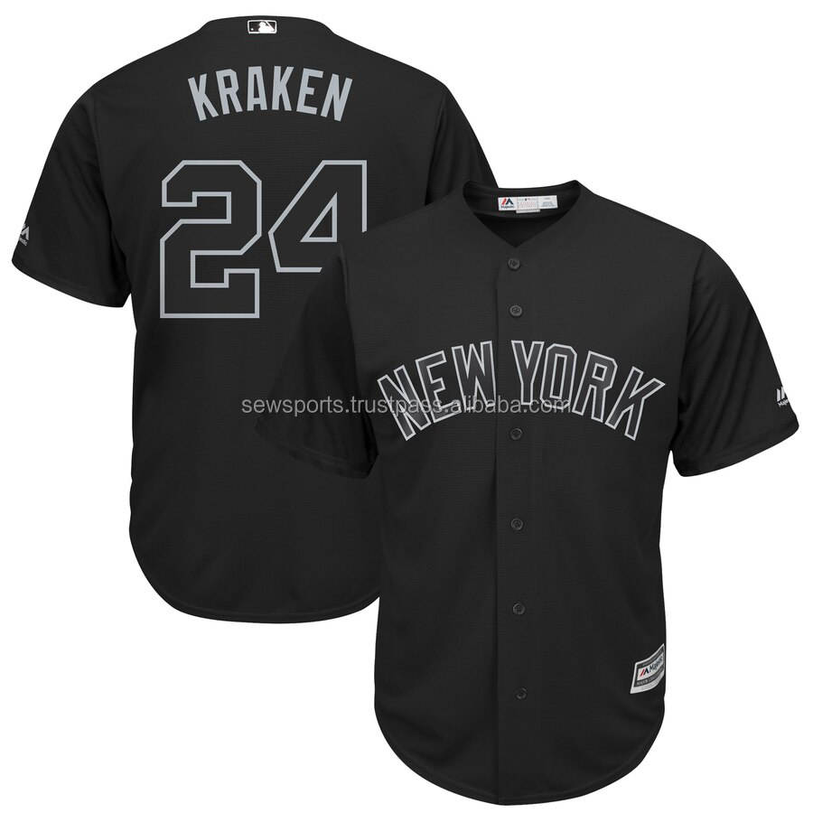 Top Quality New York Men Full Buttons Baseball Jersey Fashion Jersey #24