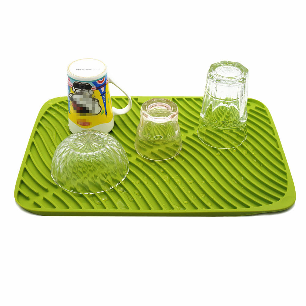 BHD Custom Kitchen Sink Mat Dish Eco-Friendly Extra Large Silicone Trivet Counter Top Pads Silicone Dish Drainer Drying Mat