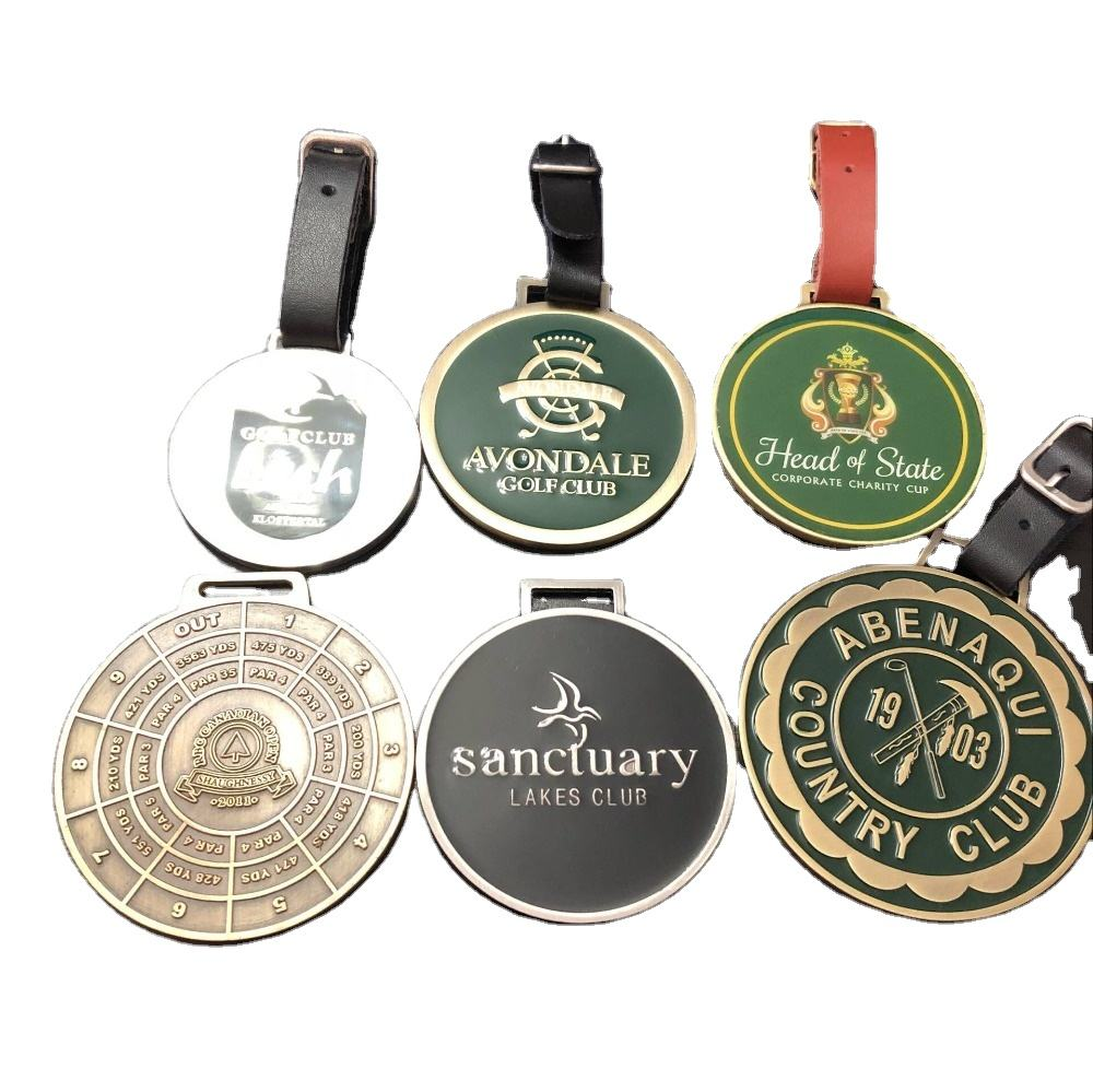 Hot Selling Custom metal golf bag tags personalized made logo metal golf bag tags
