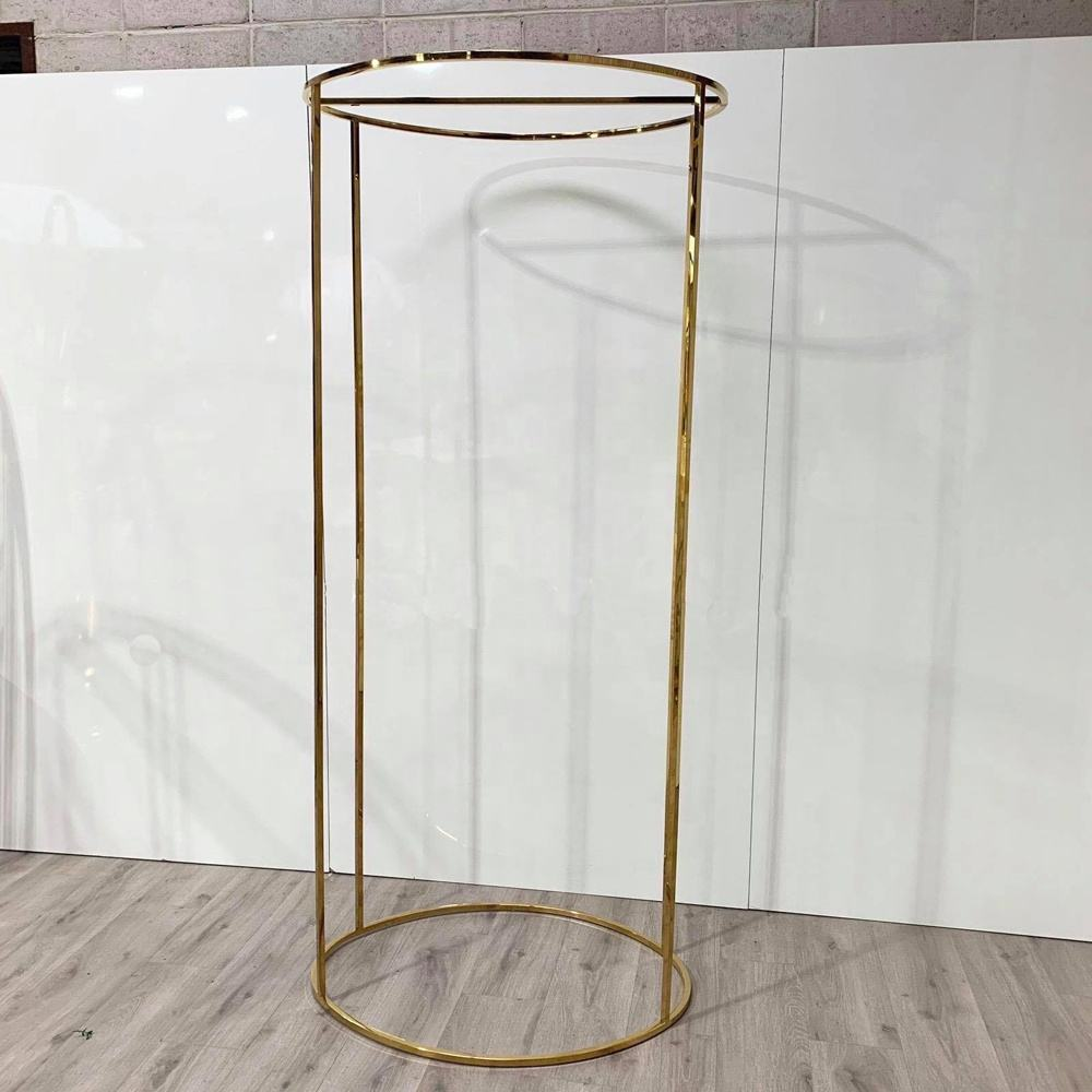 Gloss Gold Round Iron Metal Wedding Flower Stand Plinths Backdrops Centerpiece For Wedding