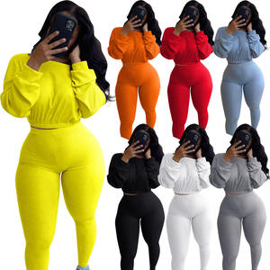 American Latest Arrival High Waist Fall Winter Casual Set Women Winter Sport Suit 2 Piece Clothing