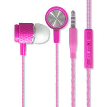 Very Cheap Earphone Super Bass Stereo Stylish Music with Mic Rope Braided Cable Plastic In Ear Earphones