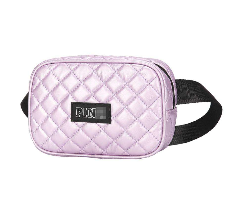Customized Pink Silver Women Waist Bag New Design Lattice Ladies Fashion Fanny Pack Waist Belt Bag