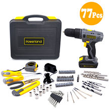 Powerland 77pcs 18V/20V cordless drill with Lion battery and charger power tool set cordless drill set cordless power drill