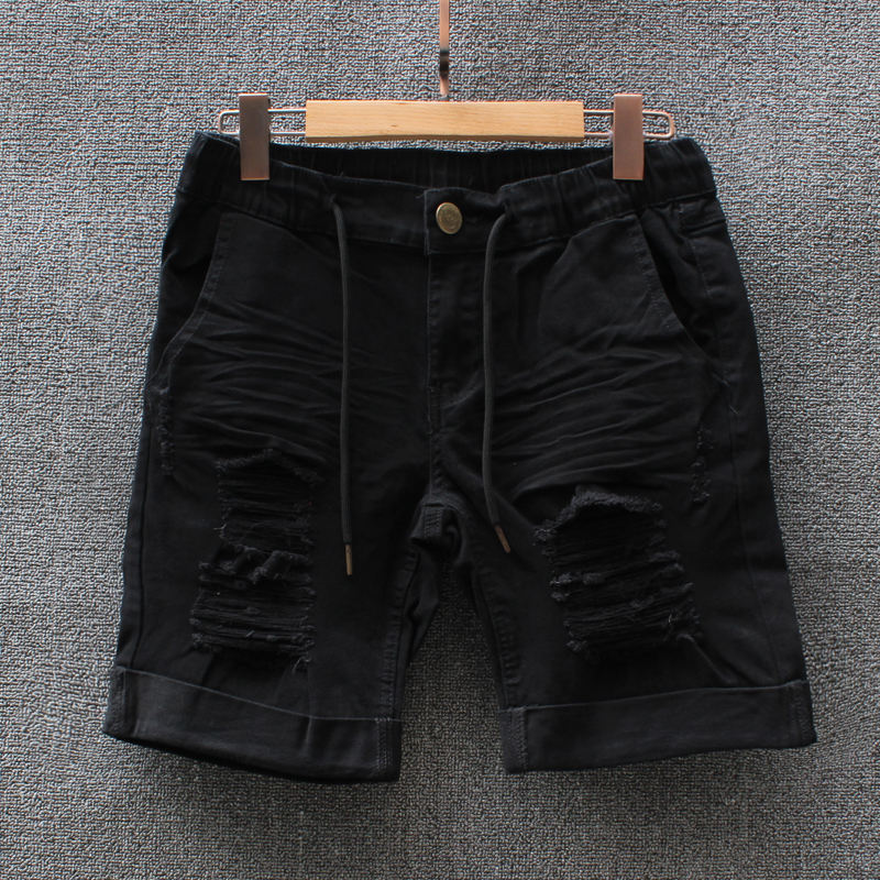 New Fashion Men Boy red navy Short Camouflage Straight Denim Pants Destroyed Ripped Spandex Wrinkled Shorts women Plus Size