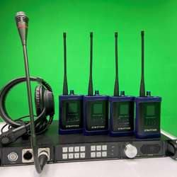 Wireless intercom system with base station, belt pack and headset