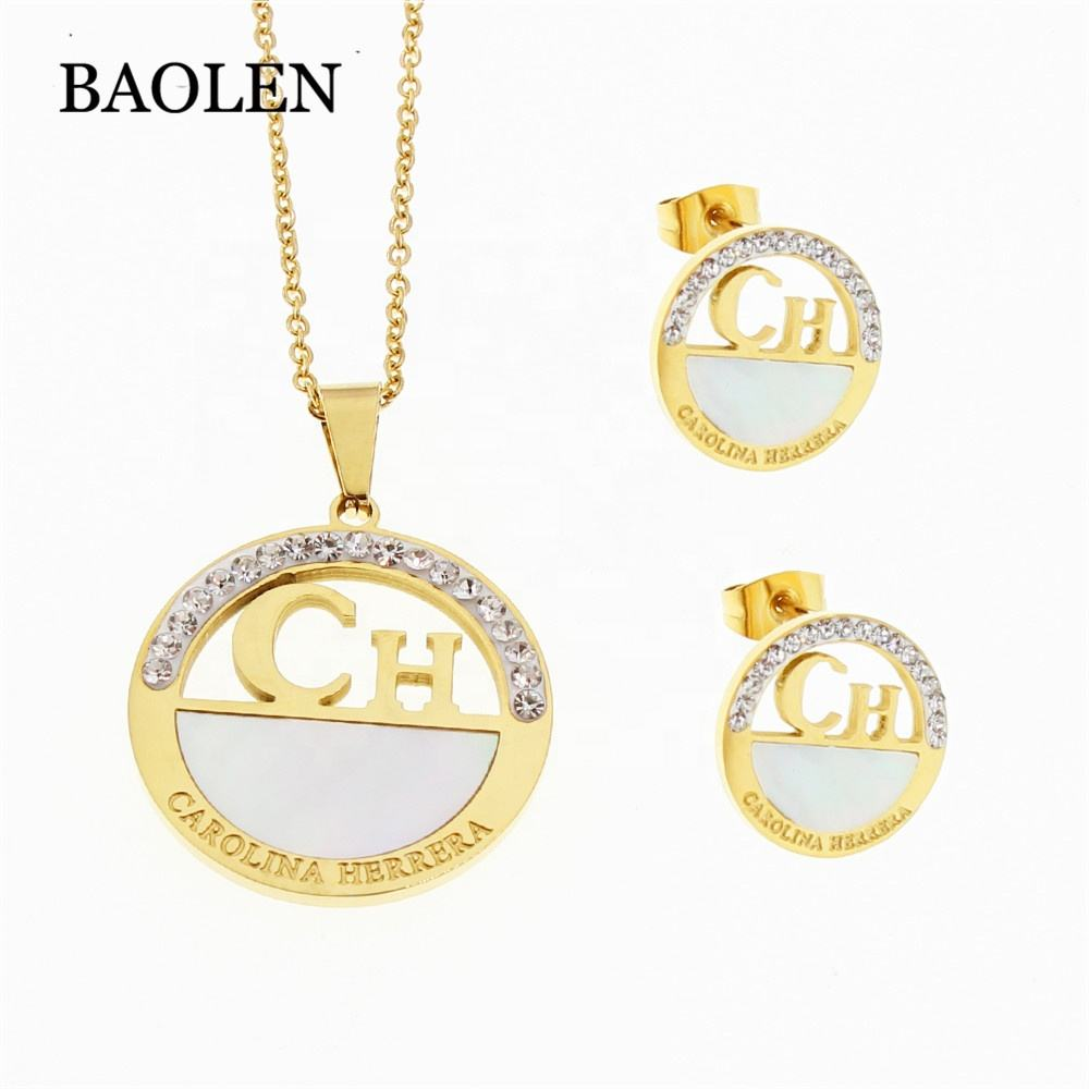Wholesale Gold Rhinestone Necklace earring jewelry set fashion stainless steel jewelry for women
