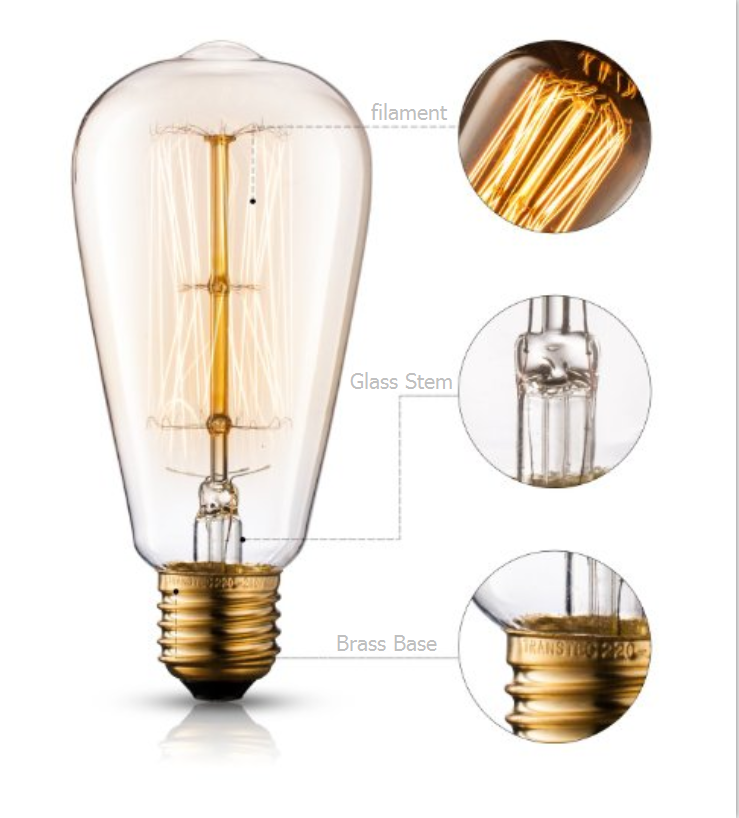 Hot selling Spiral filament ST64 40W E27 Vintage Edison Bulb Light Energy saving lamp