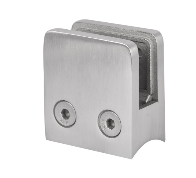"Stainless Steel 304 Grade Square Flat Back Glass Clamp/Holder 45 x 45mm for"" Laminated Glass, Satin Finish"