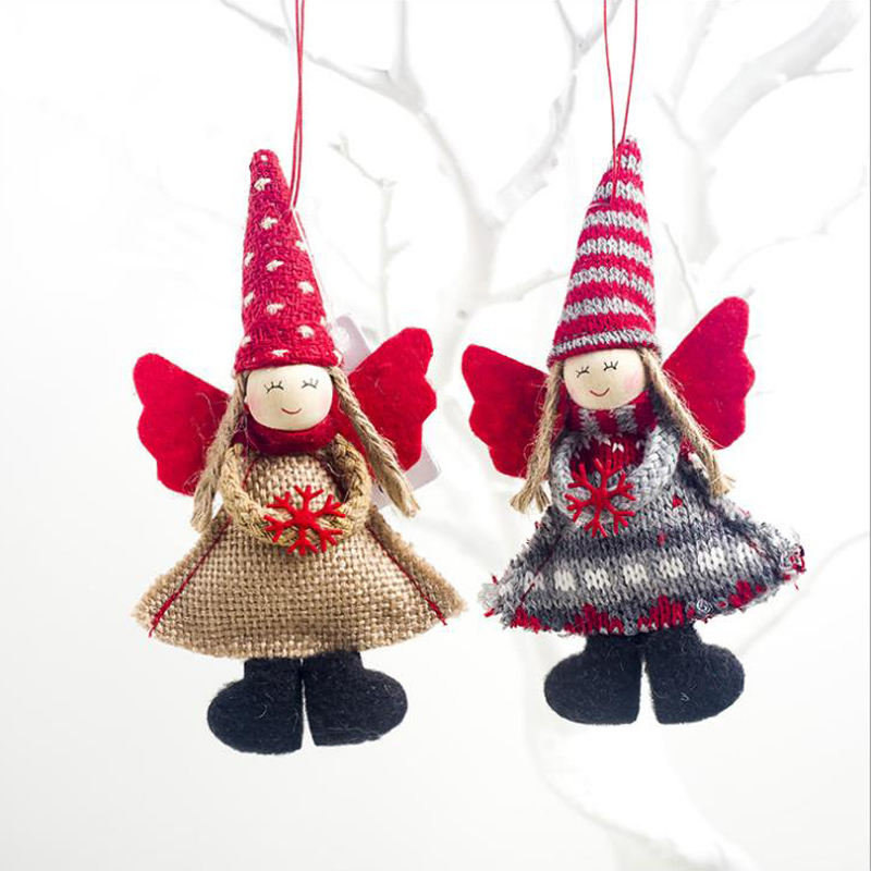 Best Selling Holiday Ornaments Christmas Hanging Decoration Angels Handmade Felt Plush Toys for Santa Tree Decor