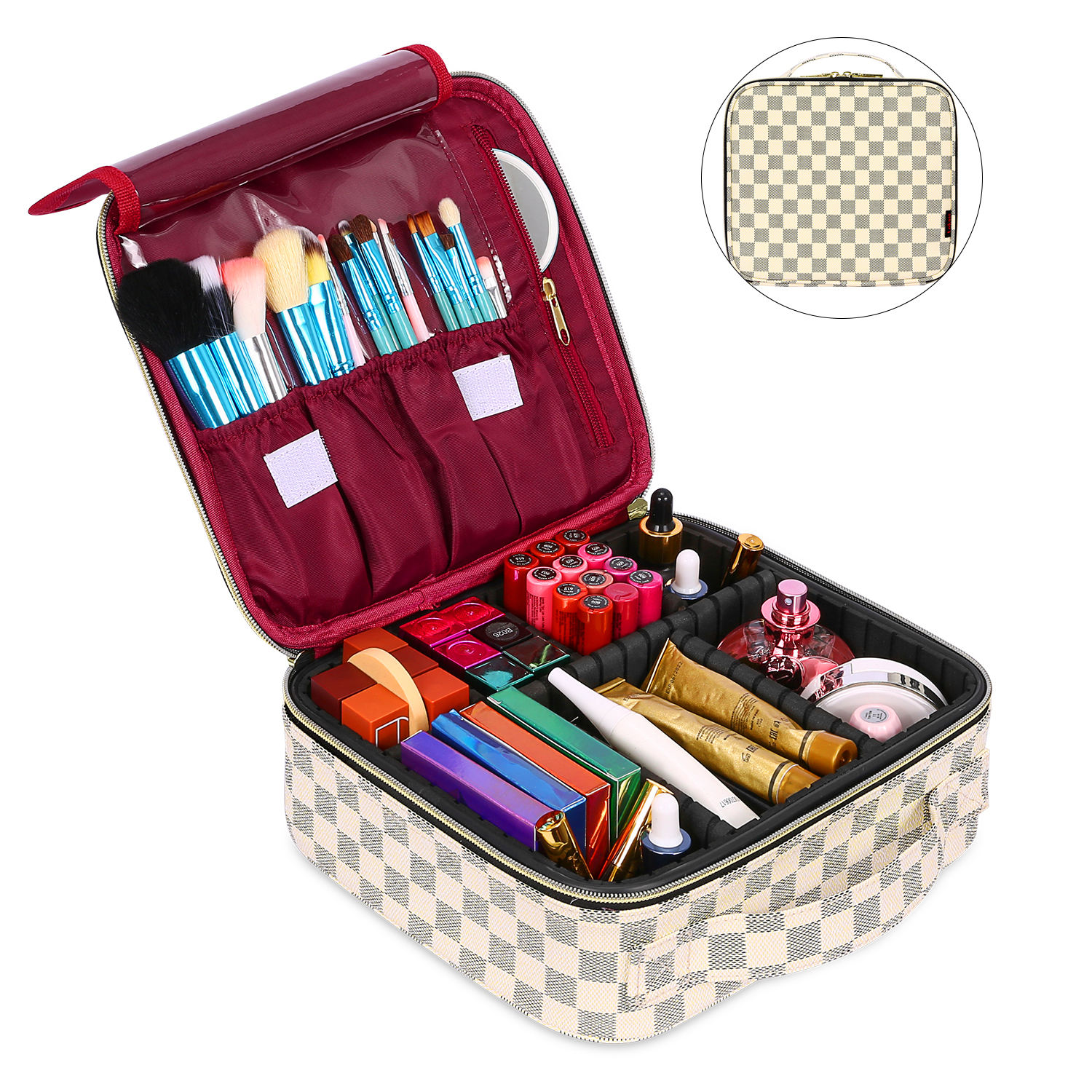 Promotional gifts portable pu leather makeup case zipper cosmetic tool organizer makeup cosmetic case with removable dividers