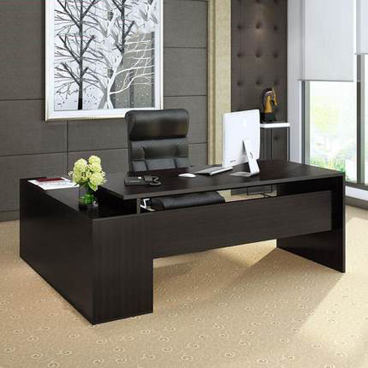 L Shape Design Office Manager Wooden Desk Furniture CEO Desk Black Computer Table Office Desk