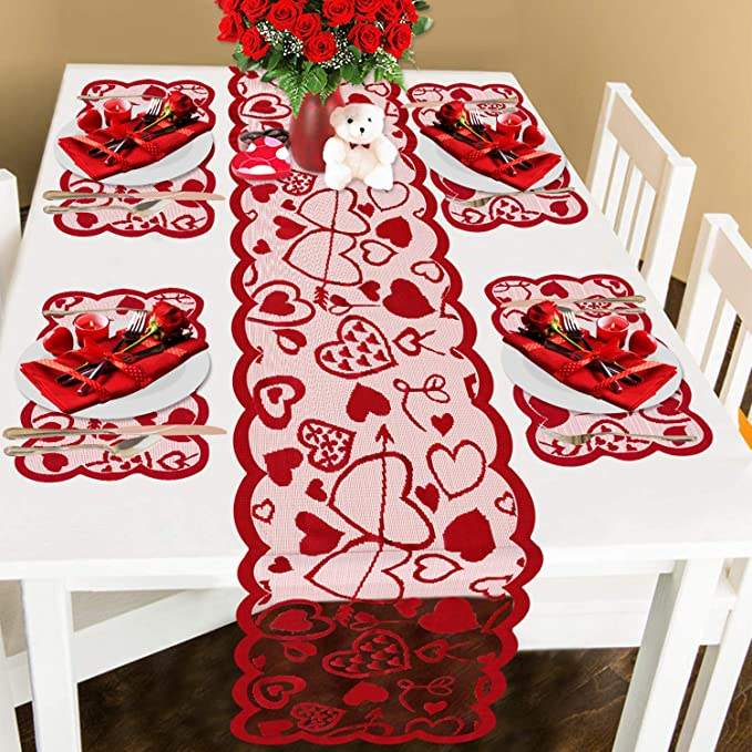 Valentine's Day Table Runner and Place mats- Red, Set of 5, Lace Heart Table Runner/Lace Table for Valentines Table Decorations