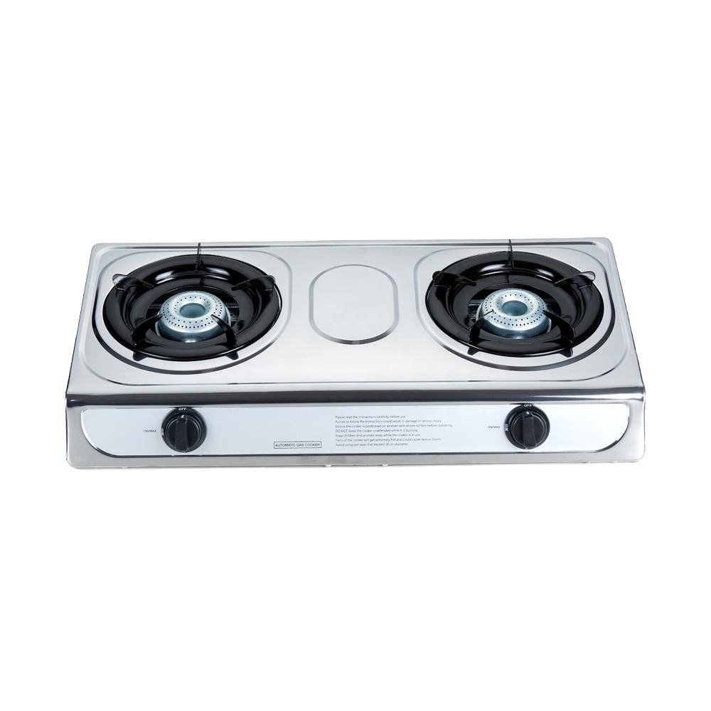 China stainless steel table top cooktop cheap 2 burner gas cooker stove for sale