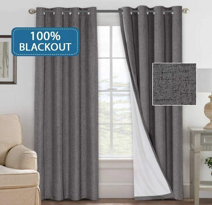 Linen Look 100% Blackout Curtains Linen Fabric Curtains With White Thermal Insulated Liner, Grommet Top Curtains for Living Room
