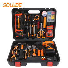 SOLUDE 103 Piece 21V Lithium Battery Drill Household Hand Tools Kit With Plastic Toolbox Storage Case