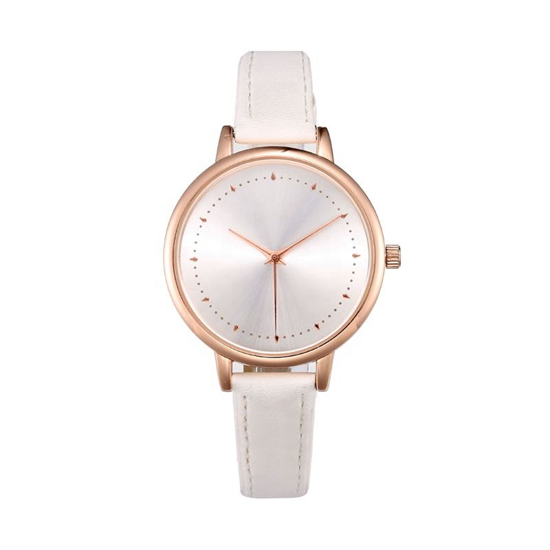 Fashion lady diamond watch,alloy rose gold white belt young girls watches