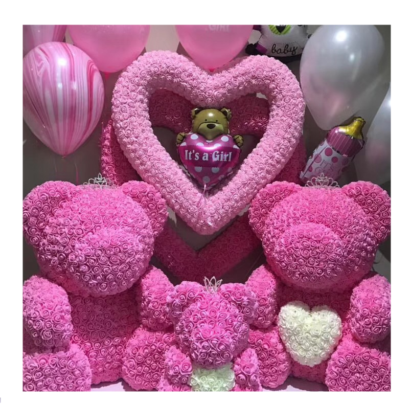 QSLH - Hot Sale Valentine's Day Diamonds Bear Flower Rose Teddy Bear With Gift Box
