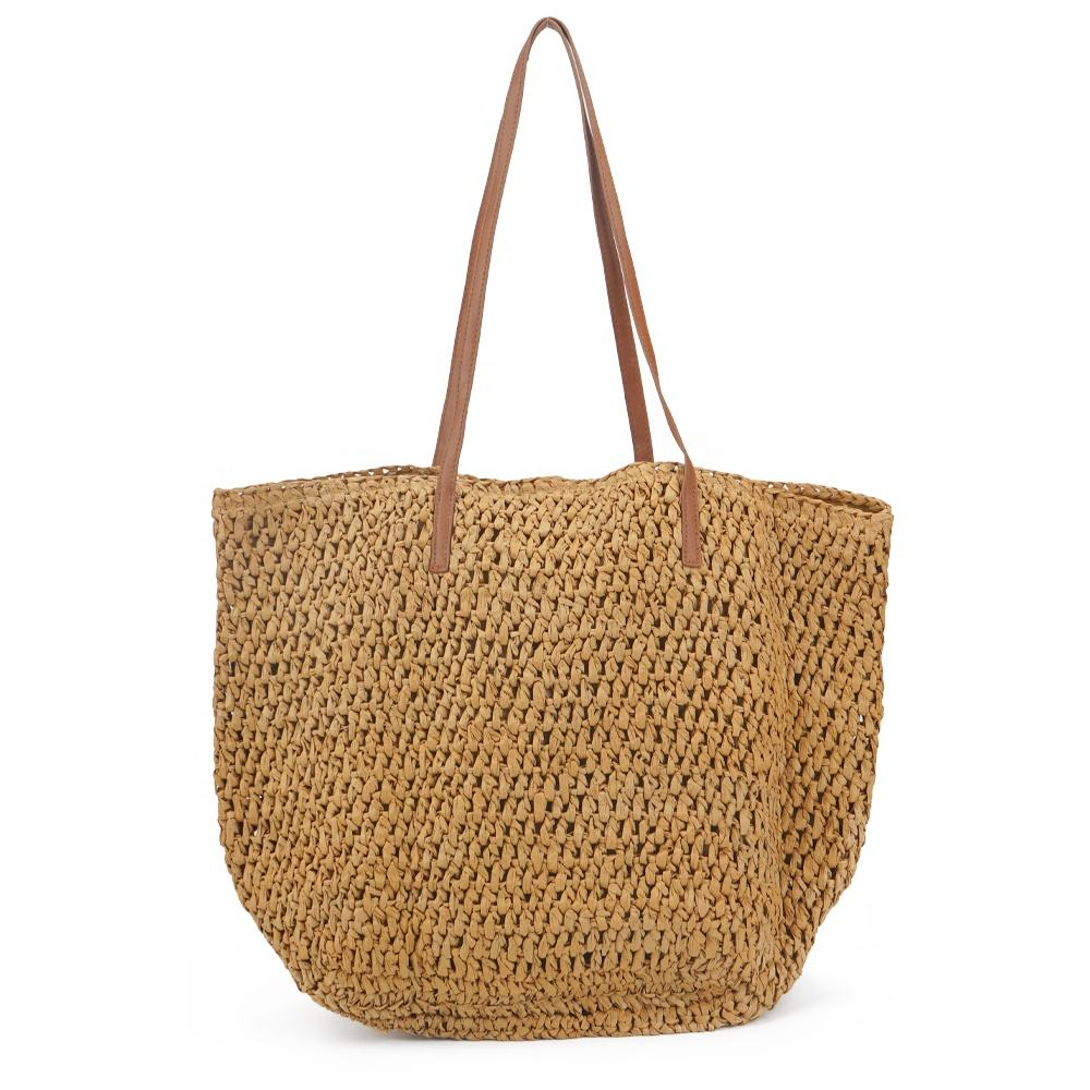 2020 sweet fashionable women's tote large beach woven straw bag
