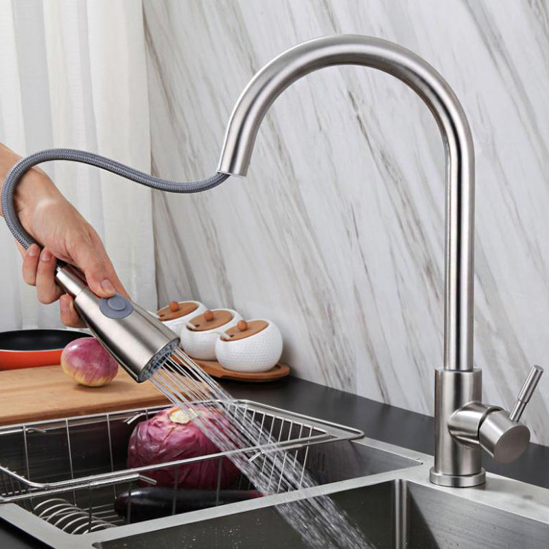 New modern Style 304 Stainless Steel kitchen taps Pull Out pull down kitchen mixer Sink Kitchen Faucets With Sprayer