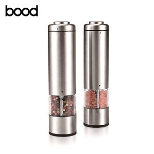 amazon hot sale electric salt and pepper mill with light / portable stainless steel spice grinder set