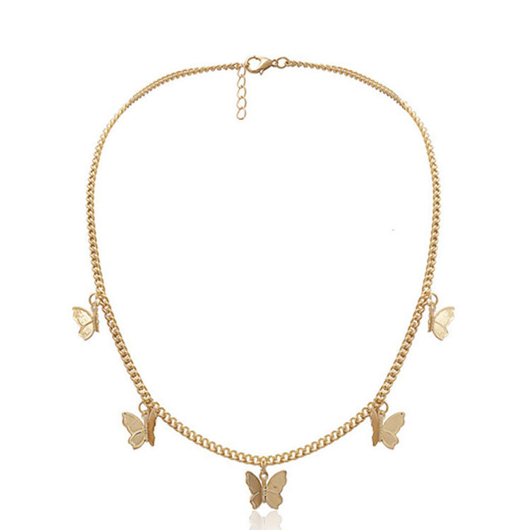 Fashion collar jewelry gold plated pendant gold chain choker butterfly necklace for women