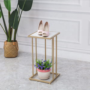 Mall clothing store  island table display stand high and low gold nesting display table