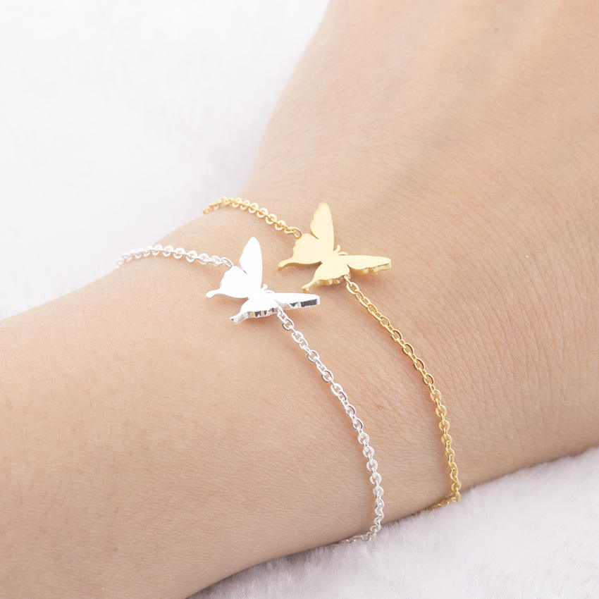 Stainless Steel Bridesmaid Gold Silver Pulseras De Plata Butterfly Chain Bracelet Acero Inoxidable Pulsera For Girls