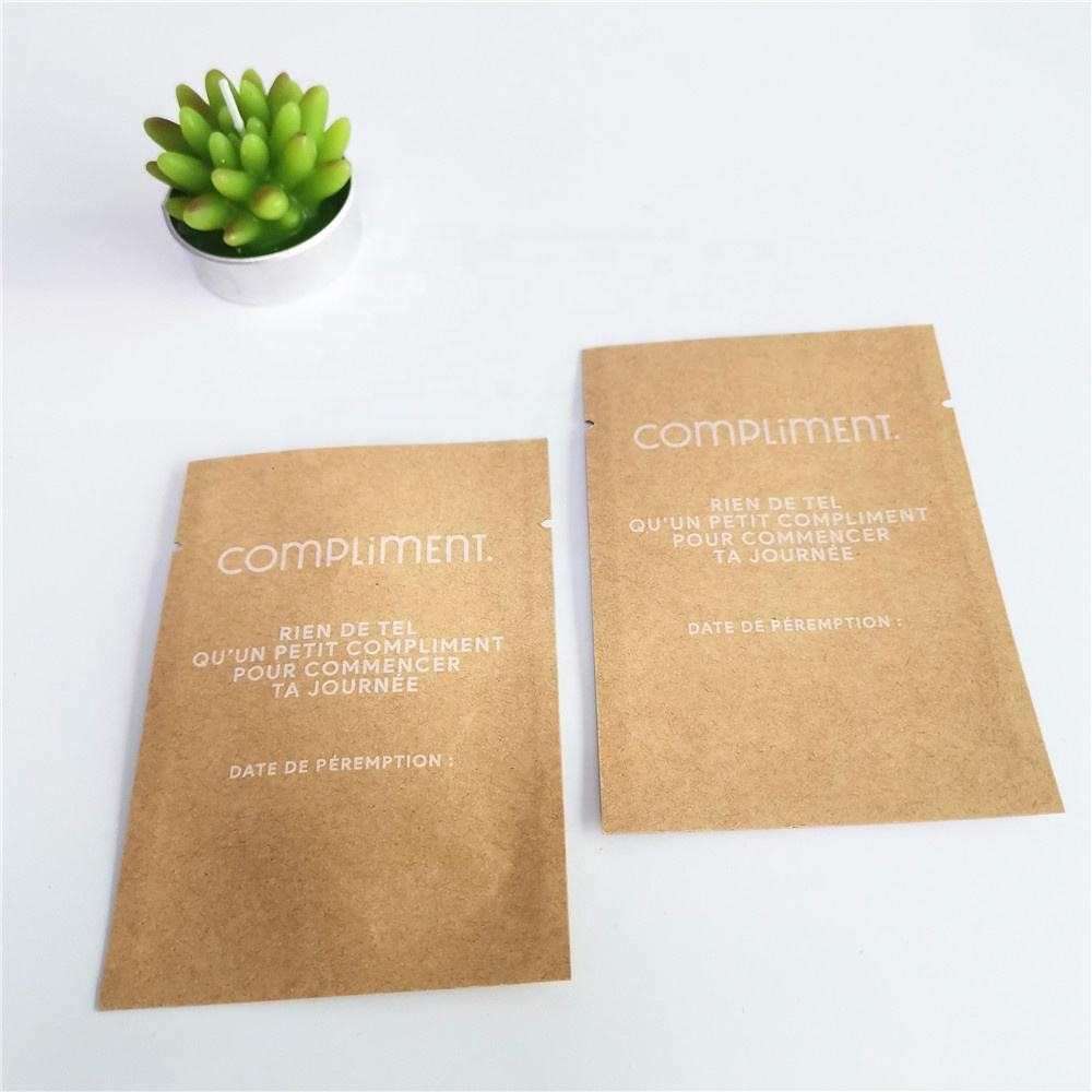 Mini Size Kraft Paper Sachets Smell Proof Packaging Bags without Zipper