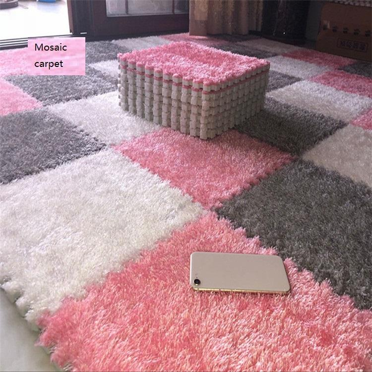 Suede Splice Outdoor Rug Carpet Floor rug Fur Hair Foam Pad Square Baby Crawling Area carpet Kitchen Mat 30cmX30cm