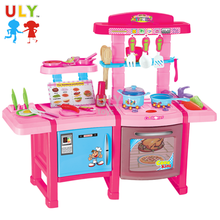 Girls plastic cooking table pretend play set home kitchen toys