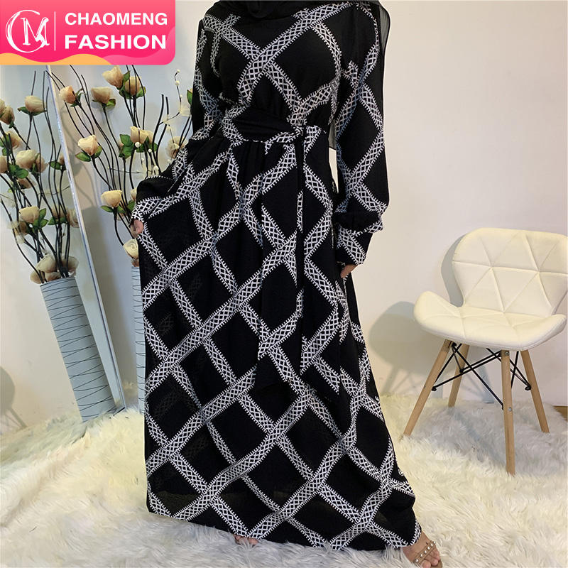 6334# Beautiful Grid Printed Chiffon Dress Modest Abaya Muslim Maxi Dresses Wide Belt Jubah Turkey Fashion Style
