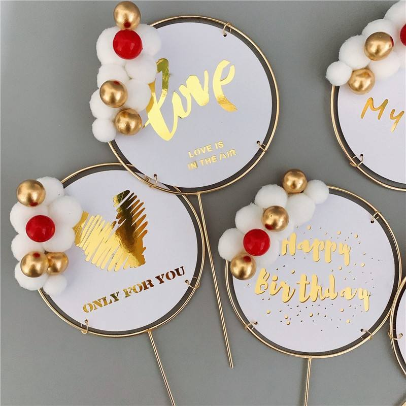 2020 March NEW ARRIVAL iron craft wool ball decorative LOVE acrylic birthday cake topper for velentine's day and lovers